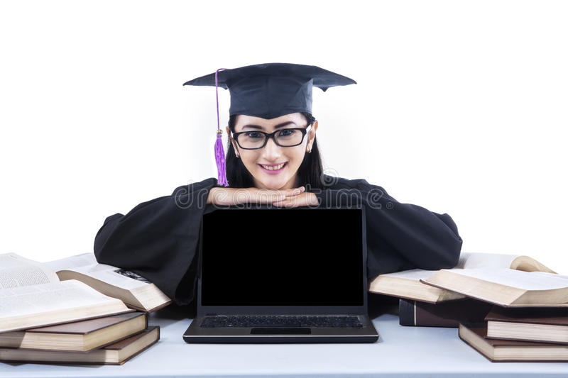 Download Happy Graduate Student With Copyspace On Laptop Stock Photos - Image: 33114573