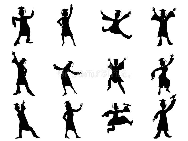 Happy graduates Silhouette royalty free illustration