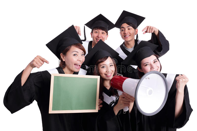 Happy graduates student show chalkboard. Group of happy graduates student show Blank green chalkboard and shout by megaphone isolated on white background, asian stock photos