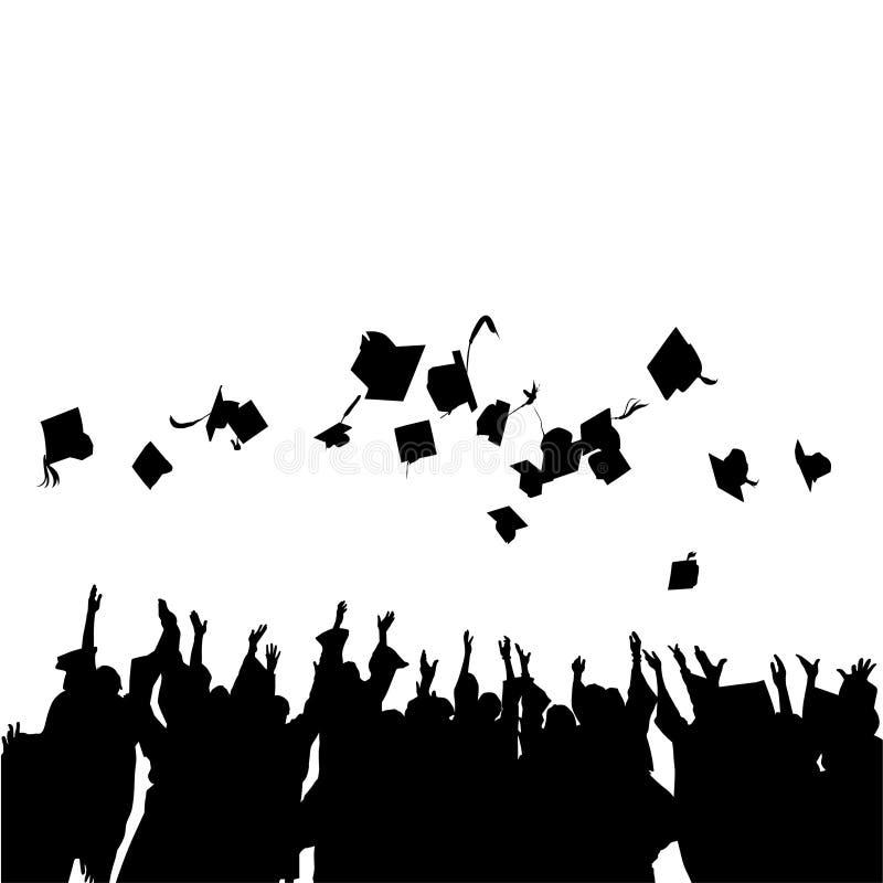 Happy Graduation Celebration Black Vector Illustratie royalty-vrije stock foto's