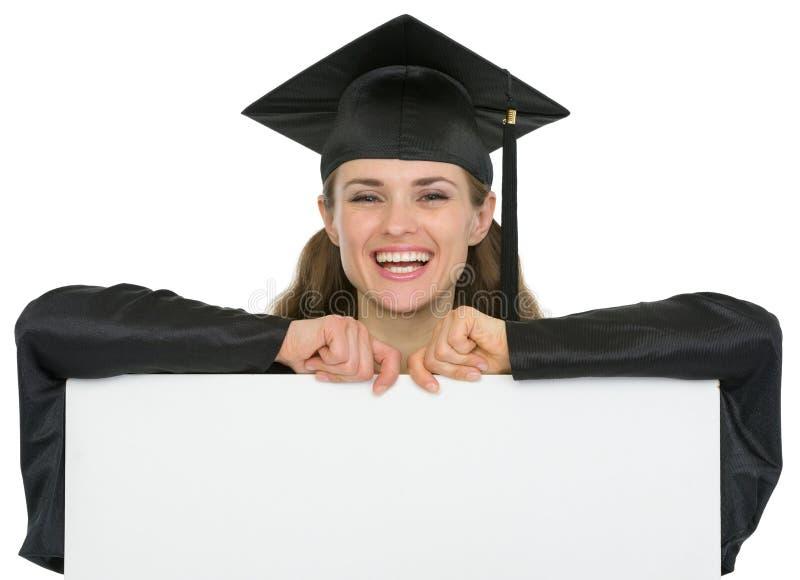 Happy Graduation Student Girl With Blank Billboard Stock Photo
