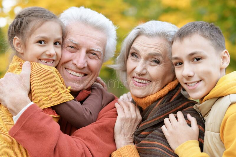 Happy grandfather, grandmother and grandchildren in park stock photo