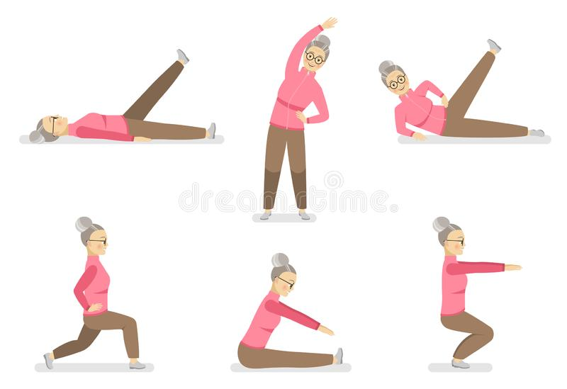 Happy grandmother does gymnastics in various poses on a white background. stock illustration