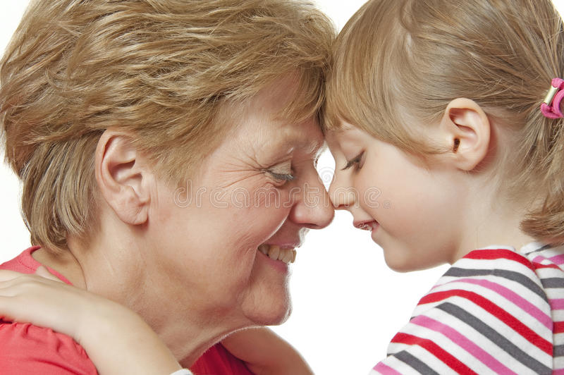 Happy Grandmother And Granddaughter Royalty Free Stock Images