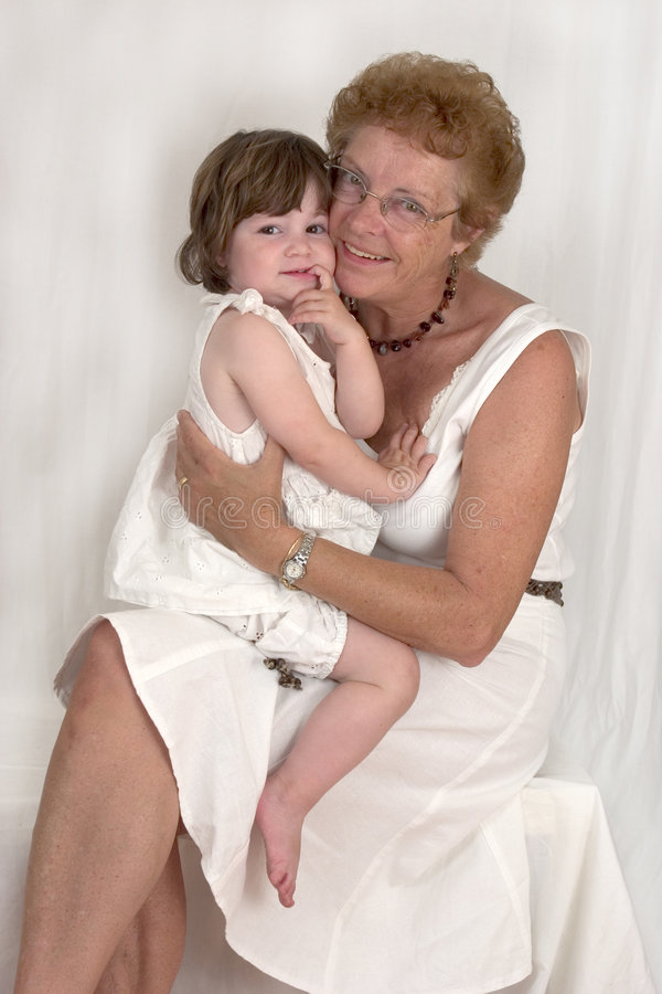 Happy Grandmother and Granddaughter (3) stock images