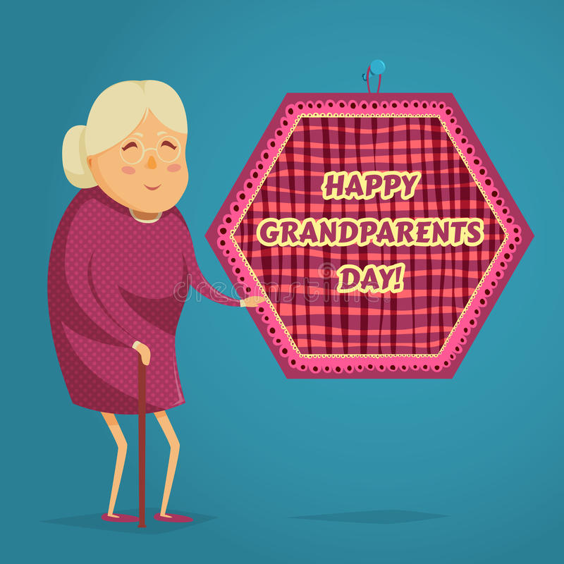 Happy grandmother. Happy grandparents day poster. Vector illustration in cartoon style vector illustration