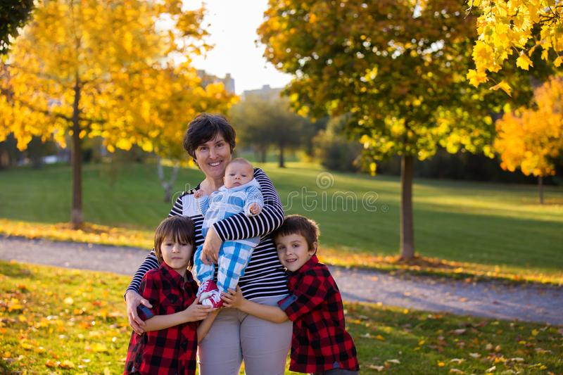 Happy grandmother in the park with her three grandsons stock image