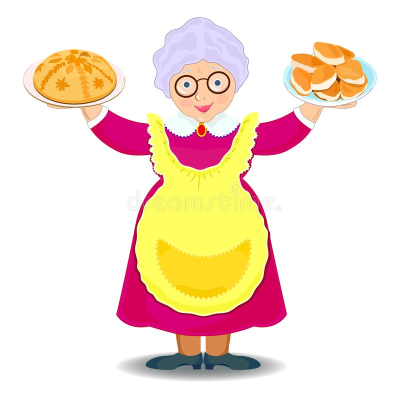 Happy grandmother with pies meets. Full body image isolated on white background. pies, illustration stock illustration