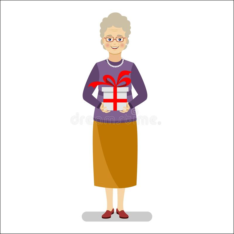 A happy grandmother in a purple sweater and yellow skirt is holding a gift in her hands. Vector flat illustration stock illustration