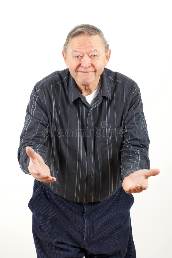 Happy Grandpa With Open Arms Royalty Free Stock Photos