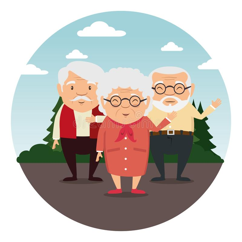 Happy grandparents cartoon. Vector illustration graphic design royalty free illustration