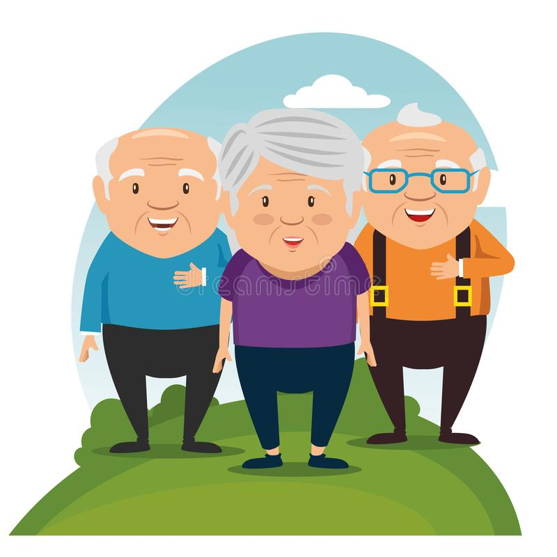 Happy grandparents cartoon. Vector illustration graphic design vector illustration