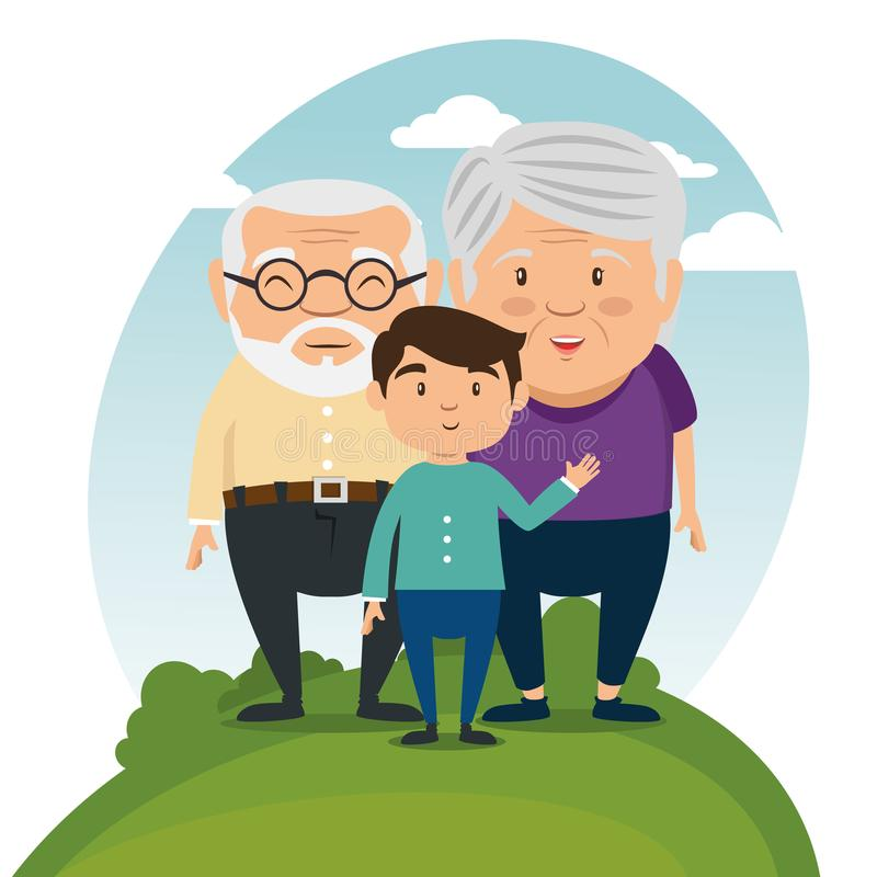 Happy grandparents cartoon. Vector illustration graphic design stock illustration