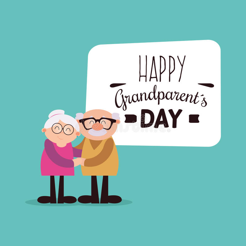 Happy Grandparents day. Abstract happy grandparents with some special objects stock illustration
