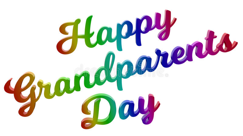 Happy Grandparents Day Calligraphic 3D Rendered Text Illustration Colored With RGB Rainbow Gradient. On White Background royalty free illustration