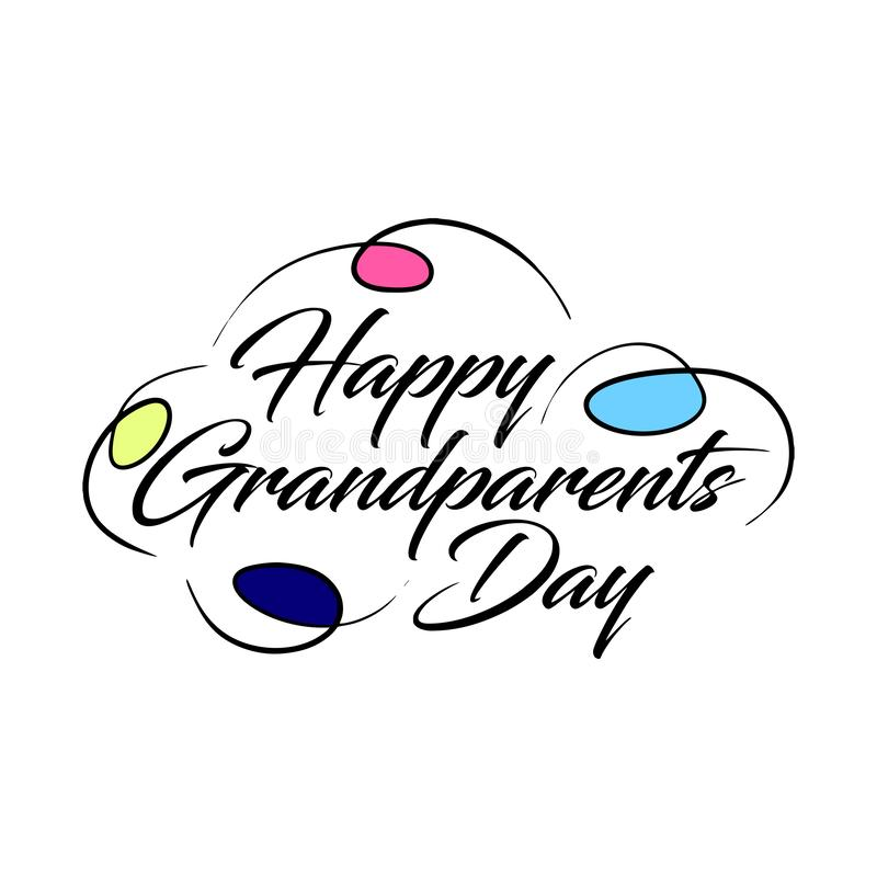 Happy Grandparents Day Calligraphy lettering on White Background stock illustration