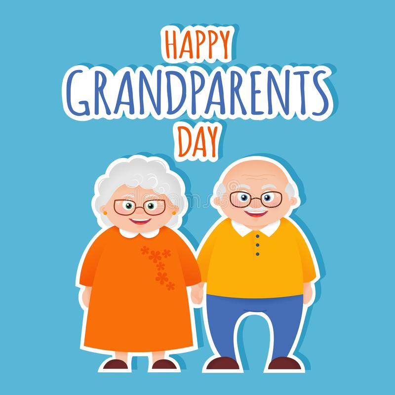 Happy grandparents day card. With senior couple vector background vector illustration