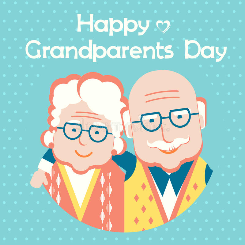 Happy Grandparents Day card with text.Vector flat style. Happy Grandparents Day.Vector holiday card with portrait of old people stock illustration