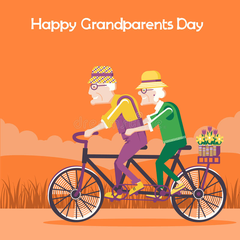 Happy Grandparents Day card.Vector happy family drive by bike vector illustration