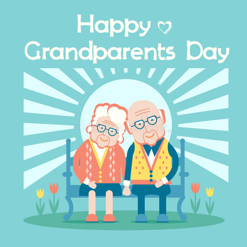 Happy Grandparents Day with elderly couple people royalty free illustration