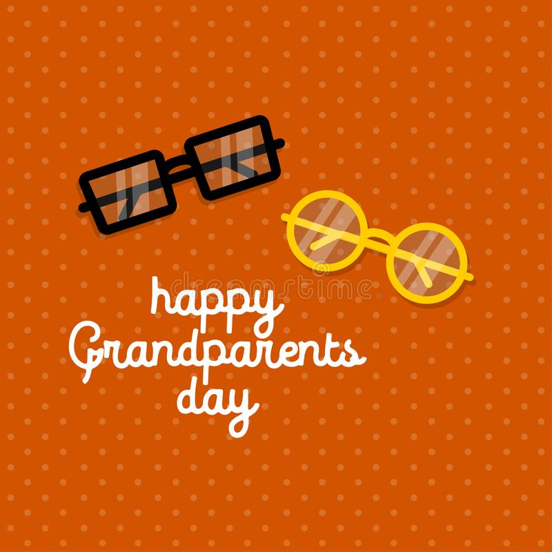 Happy grandparents day. glasses on orange background. greeting card. eps10 stock illustration