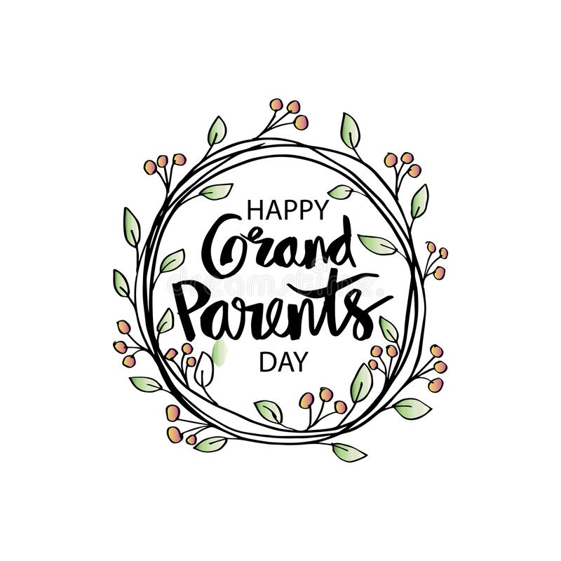 Happy grandparents day. Greeting card royalty free illustration