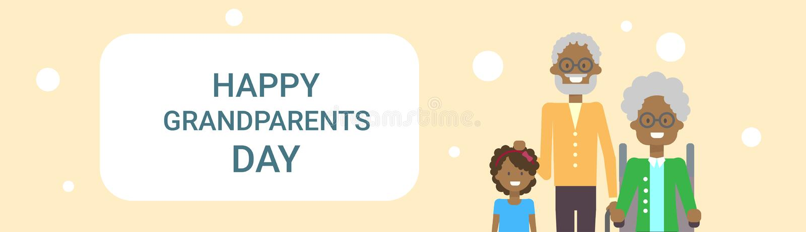 Happy Grandparents Day Greeting Card Banner African American Grandfather And Grandmother With Grandchild Together. Vector Illustration vector illustration