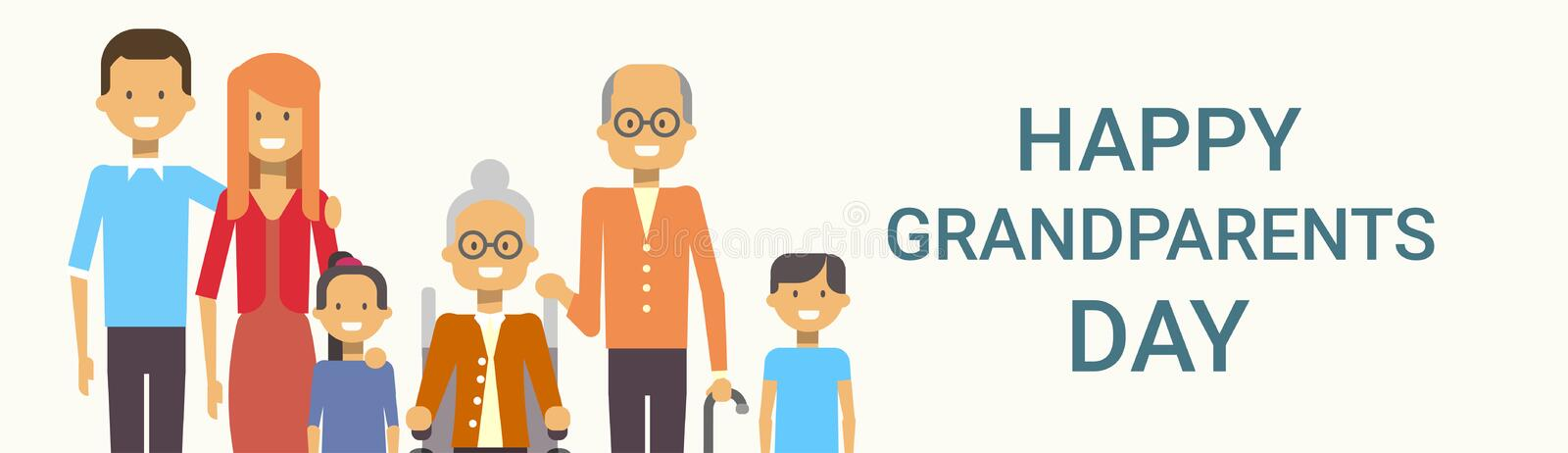 Happy Grandparents Day Greeting Card Banner Big Family Together. Vector Illustration stock illustration