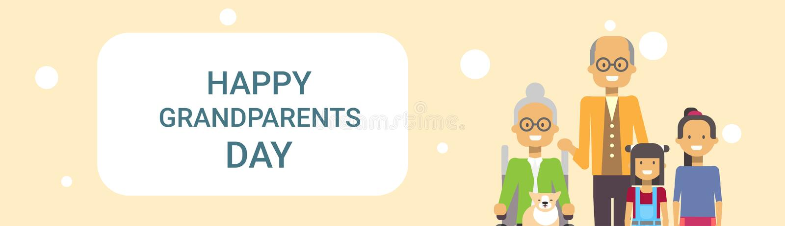 Happy Grandparents Day Greeting Card Banner Grandfather And Grandmother With Grandchildren Together. Vector Illustration royalty free illustration