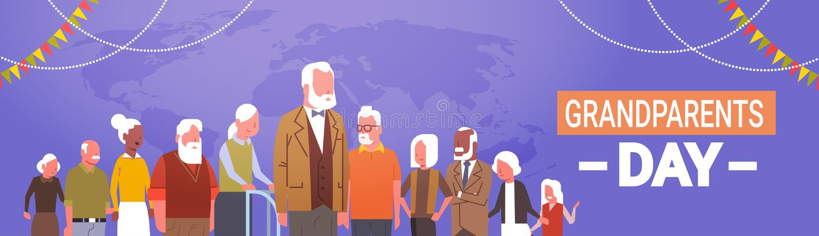 Happy Grandparents Day Greeting Card Banner Mix Race Group royalty free illustration