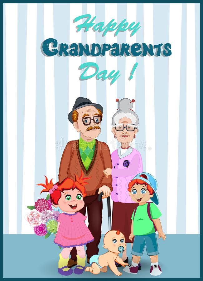 Happy grandparents day greeting card with elderly couple and grandchildren together. stock illustration