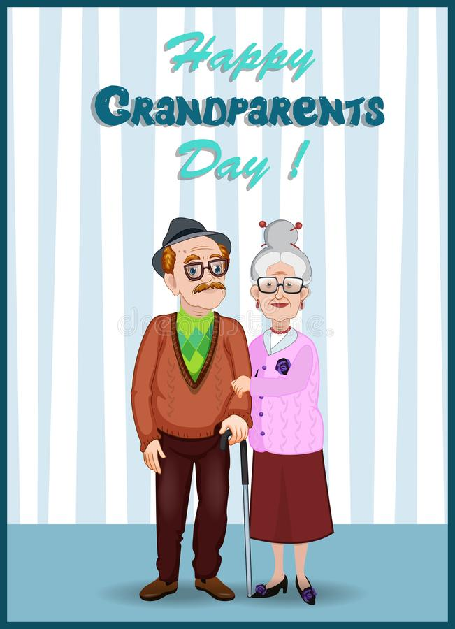 Happy grandparents day greeting card with elderly couple holding hands. Happy grandparents day greeting card. Cartoon vector illustration of elderly couple royalty free illustration