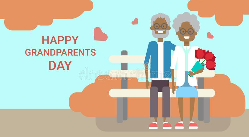 Happy Grandparents Day Greeting Card Holiday Banner African American vector illustration