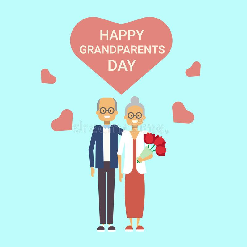 Happy Grandparents Day Greeting Card Holiday Banner Grandfather And Grandmother Couple Together. Vector Illustration royalty free illustration