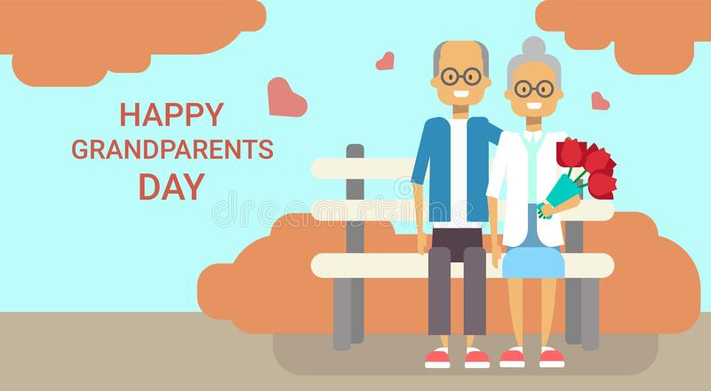 Happy Grandparents Day Greeting Card Holiday Banner Grandfather And Grandmother. Couple Sitting On Bench Together Vector Illustration royalty free illustration