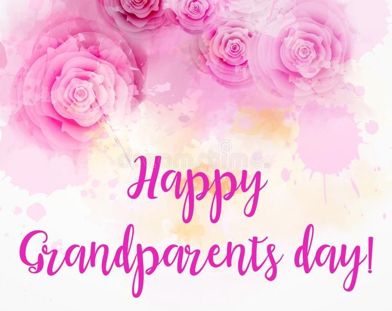 Happy Grandparents day!. Abstract watercolored background with pink roses royalty free illustration
