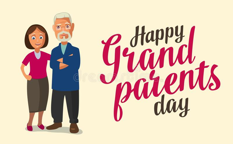 Happy grandparents day. Color flat vector illustration isolated on beige background. Hand drawn lettering vector illustration