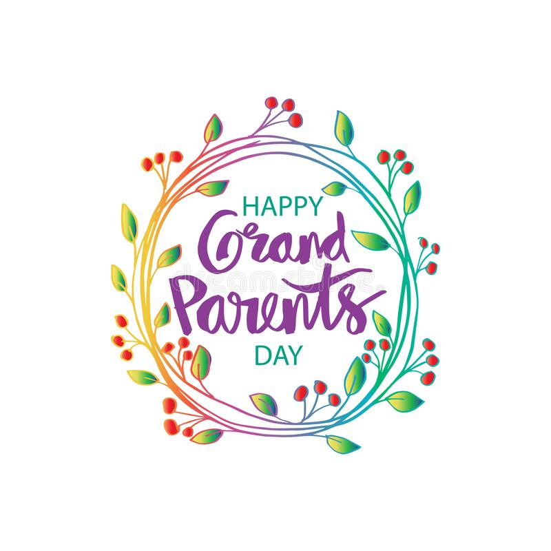Happy grandparents day. Greeting card vector illustration