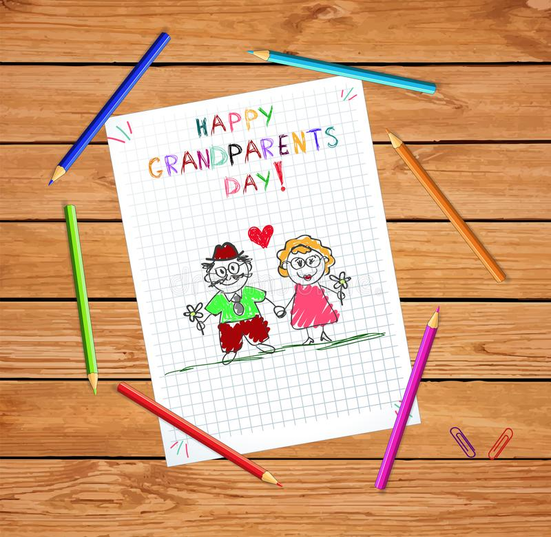 Happy grandparents day kids hand drawn greeting card with grandpa and grandma together. Children colorful hand drawn vector greeting card with grandpa and stock illustration