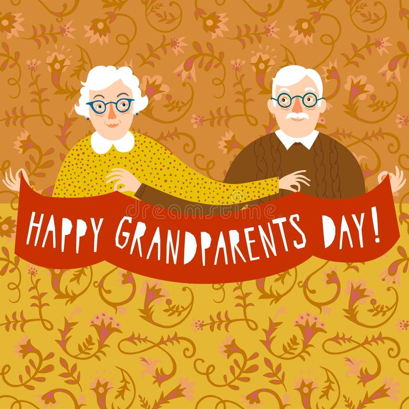 Happy grandparents day poster stock illustration