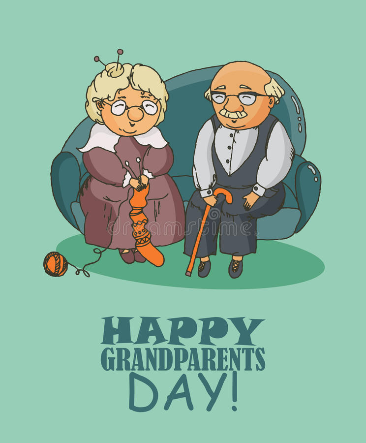 Happy grandparents day. Vector greeting card in doodle design vector illustration
