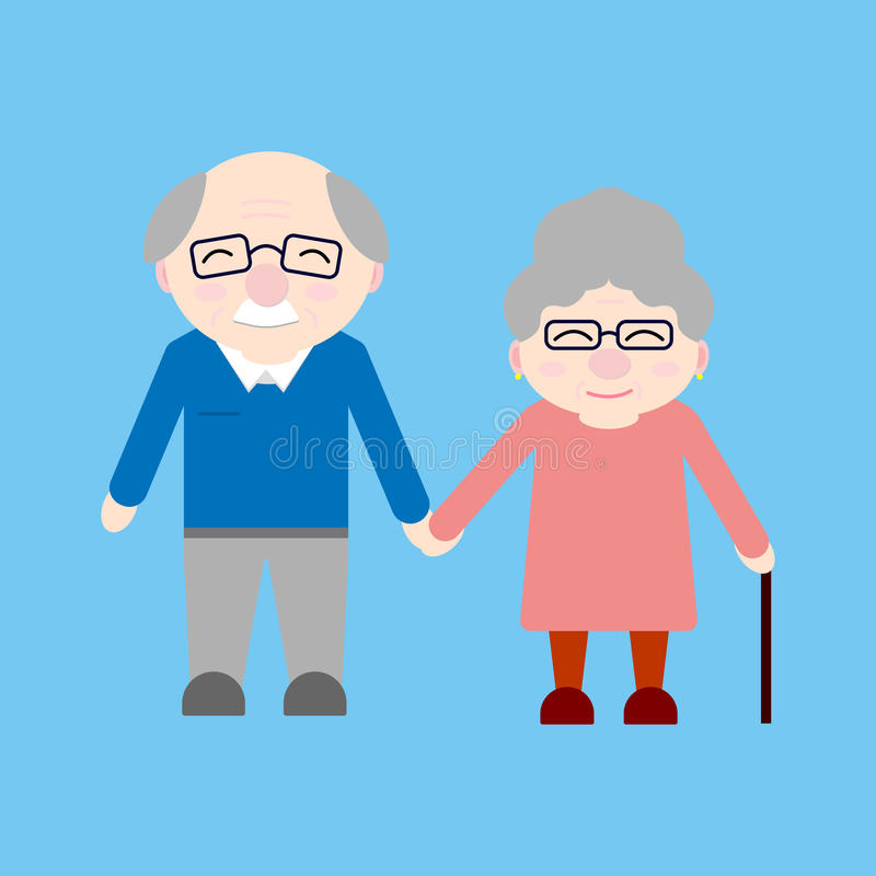 Happy grandparents. Elderly people. Grandparent`s day. Grandfather and grandmother. Vector card on blue background vector illustration