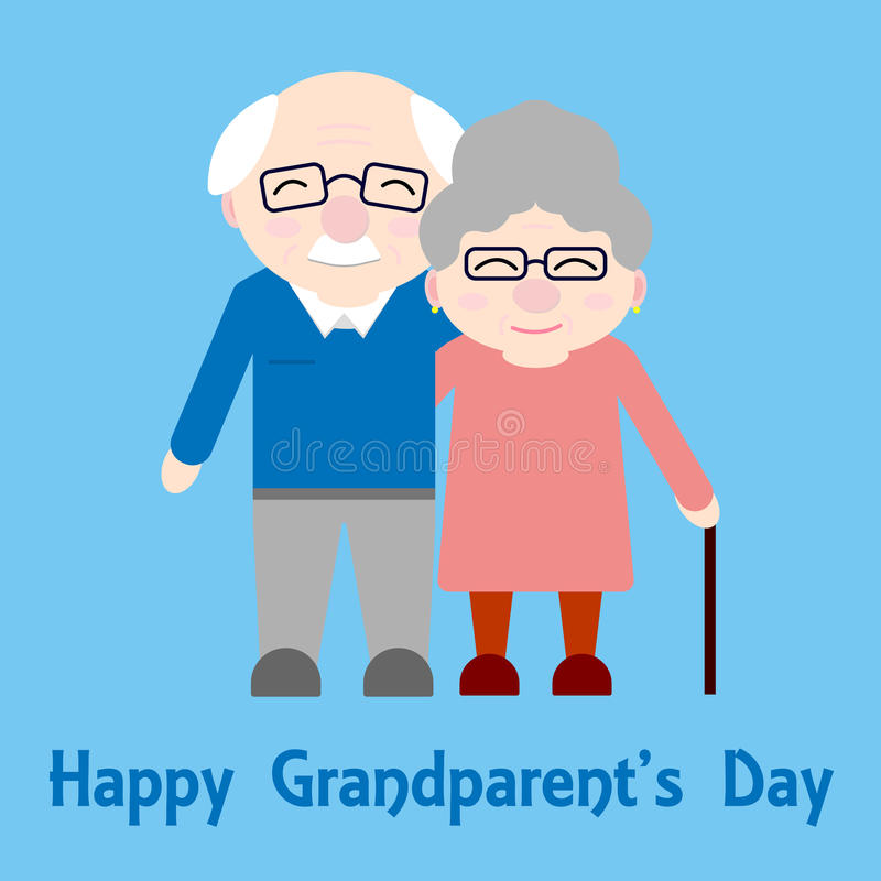 Happy grandparents. Elderly people. Grandparent`s day. Vector card with text on blue background stock illustration