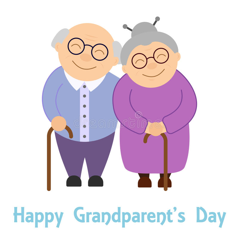 Happy grandparents. Elderly people. Grandparent`s day. Vector illustration with text on white background vector illustration