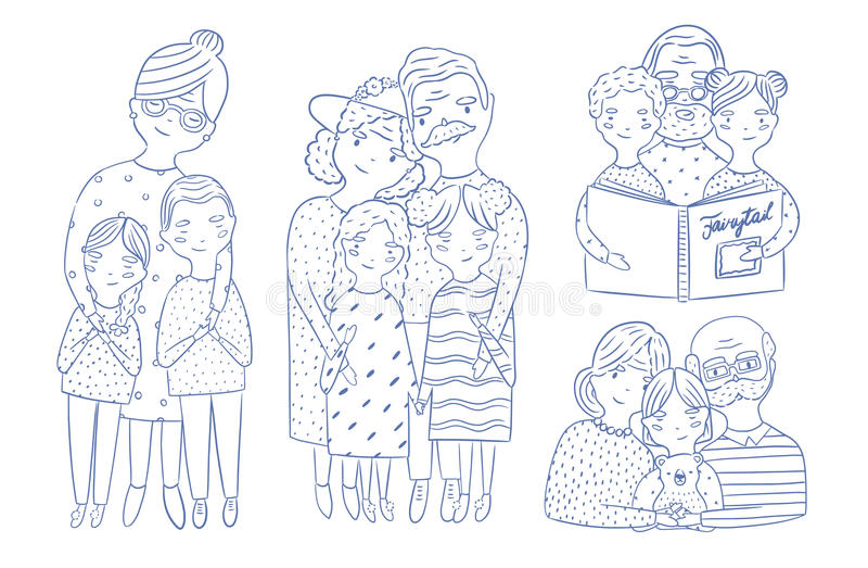 Happy grandparents with grandchildren set. Hand drawn outline illustrations collection. Happy grandparents with grandchildren set. Hand drawn outline royalty free illustration