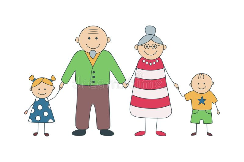Happy grandparents and grandchildren. Vector illustration in cartoon style. stock illustration
