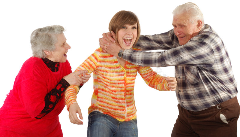 Happy grandparents and granddaughter play stock image