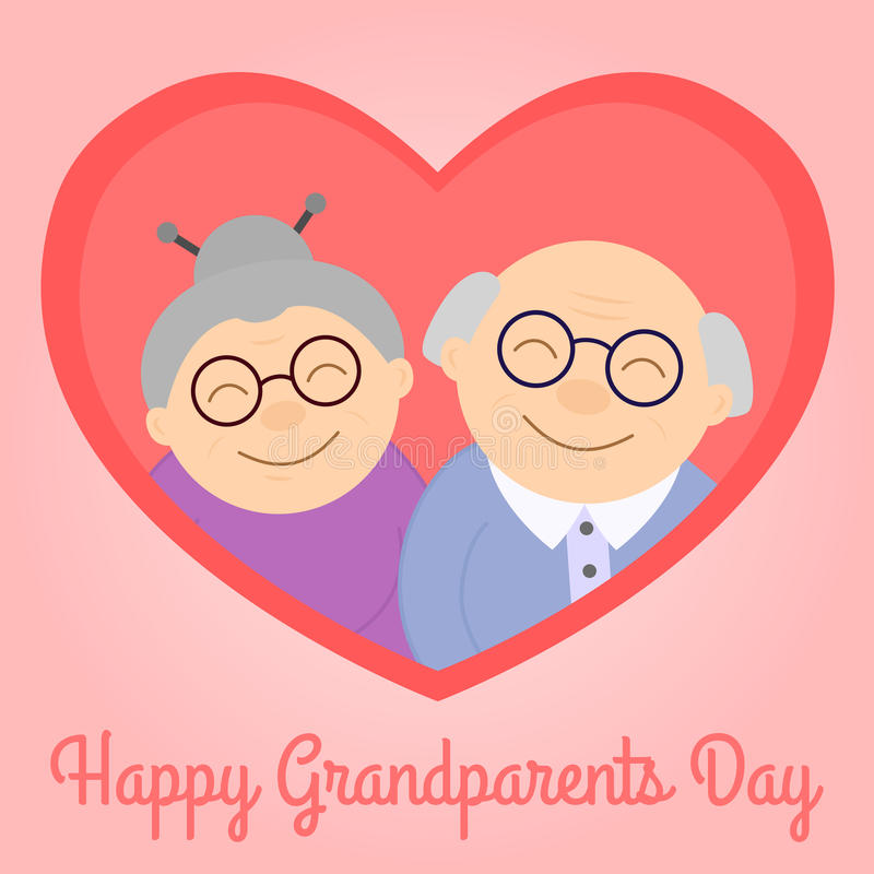 Happy grandparents in heart. Elderly people. Grandparent`s day. Vector illustration with text vector illustration