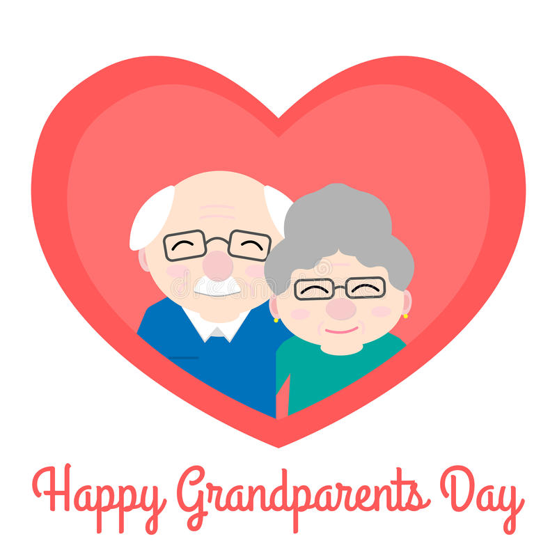 Happy grandparents in heart. Elderly people. Grandparent`s day. Vector illustration with text on white background stock illustration