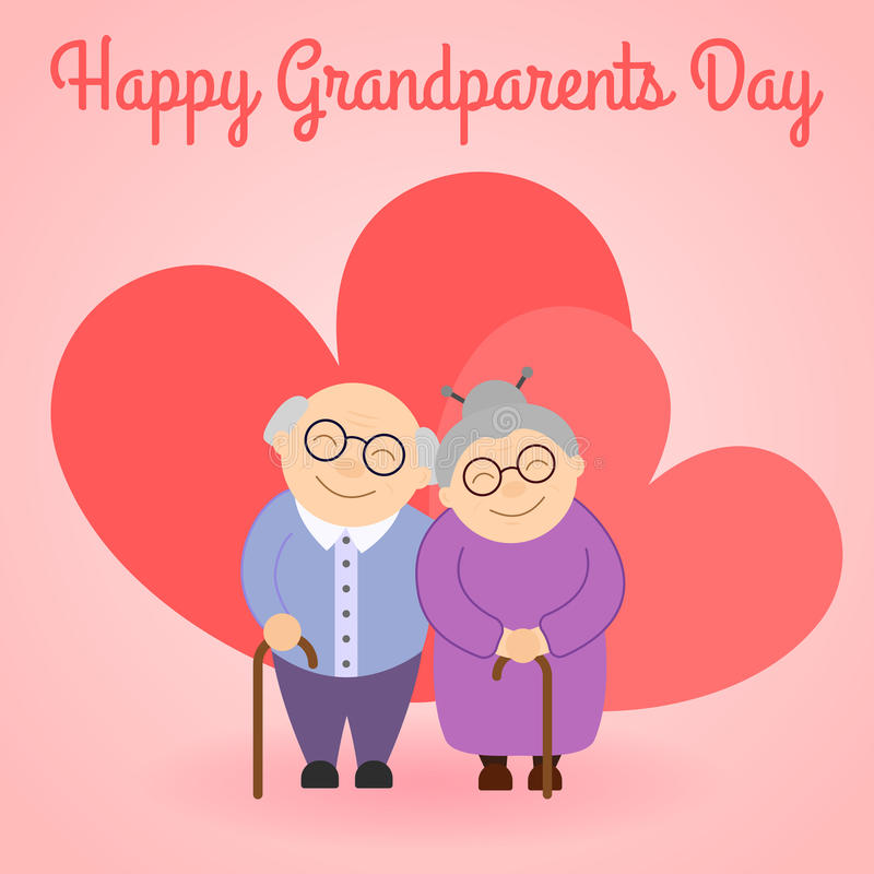 Happy grandparents before hearts . Elderly people. Happy grandparents before hearts . Grandparent`s day. Elderly people. Vector illustration with text vector illustration